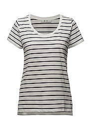 Em ss U-neck MS17 - WHITE W. BLUE STRIPES