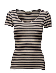 Tini ss top MS17 - NUDE W BLUE STRIPES