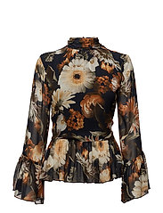 Fergie blouse MA17 - MULTI BLACK FLOWER