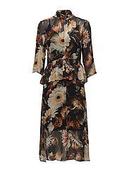 Fergie long dress MA17 - MULTI BLACK FLOWER