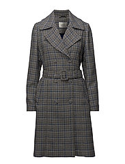 Vinne coat MS18 - BLACK/WHITE CHECK