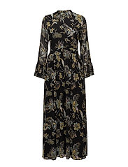 Maui long dress MS18 - BLACK PALM