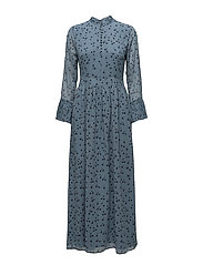 Jeanett long dress MS18 - BLUE FLOWER