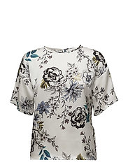 Floria ss top MS18 - WHITE FLOWER