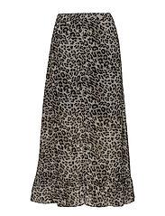 Lynx long skirt HS18 - BEIGE ANIMAL PRINT