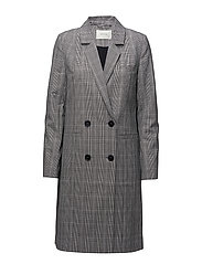 Danielle coat ZE1 18 - BLACK/WHITE CHECK