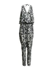 Olive jumpsuit HS 14 DESIGN - Black/white print