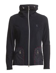Fleece jacket with check details - Navy