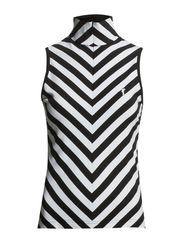 Striped DC Jersey Sleeveless Troyer - Black