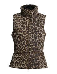 Leopard Print Micro Padded Waistcoat - Black