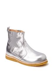 Boot w/zipper and star - Silver/Met