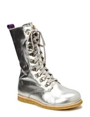 Kids boot w/laces - silver