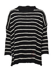 CARDI LS PIA SWEATER - BLACK&SCUFFY STRI