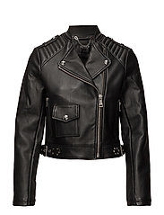 RICA LEATHER JACKET - JET BLACK W/ FROS