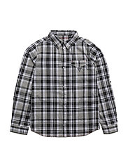 ROLL SLEEVE WOVEN SHIRT - BLACK WHITE CHECK