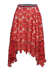 LACE MIDI SKIRT - MARS RED