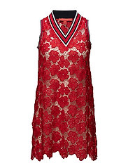 LACE NS MIDI DRESS - MARS RED