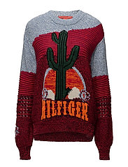 CACTUS LS SWEATER - RIO RED/MULTI