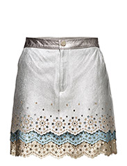 LAYERED MINI SKIRT - LIGHT SILVER METALLIC/MUL