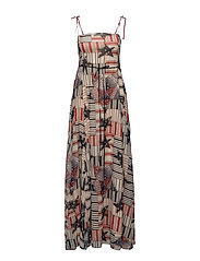 PATCHWORK MAXI DRESS - EGGNOG/MULTI
