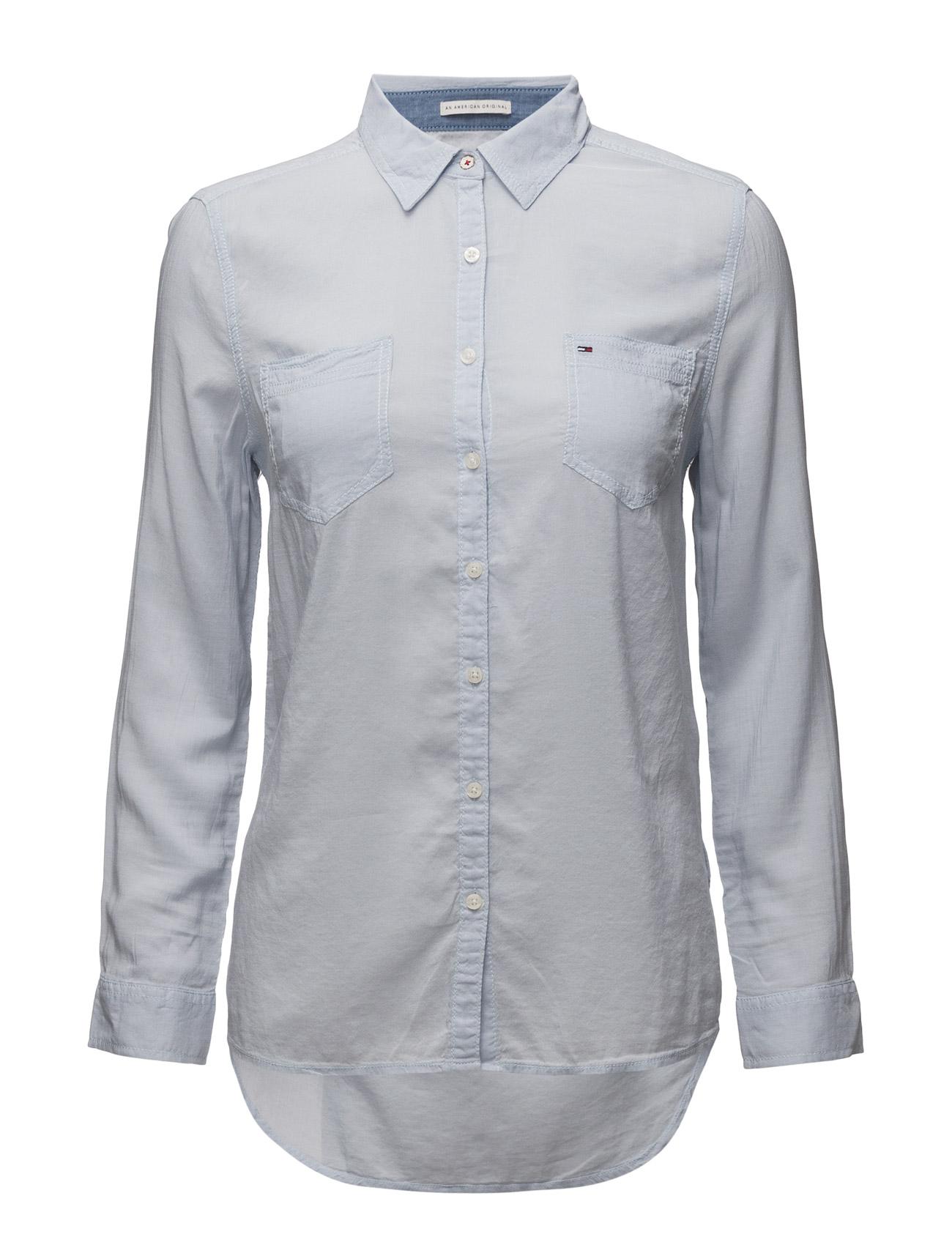 Original Lightweight Shirt L/S Hilfiger Denim Langærmede til Damer i Blå