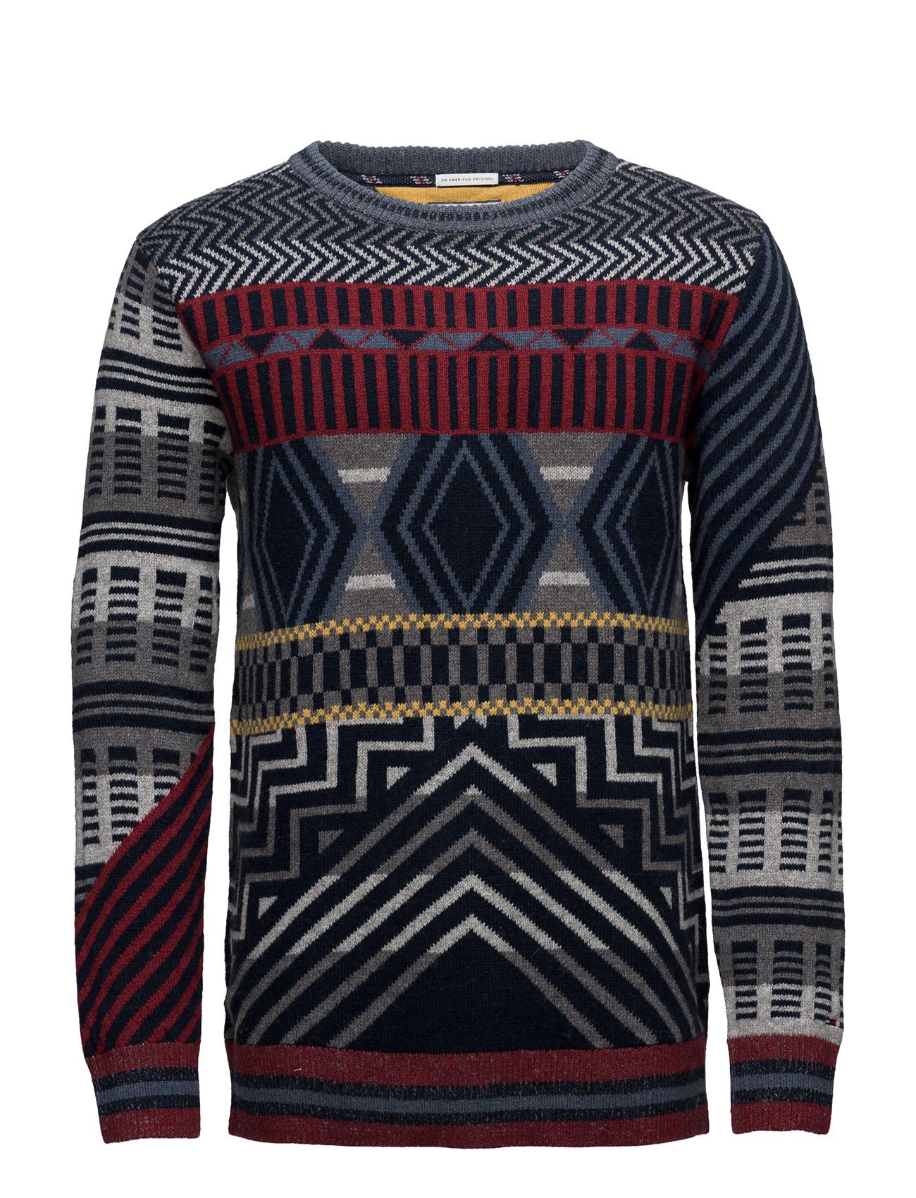 Thdm Cn Fairisle Sweater L/S 30 Hilfiger Denim Striktøj til Mænd i Grå