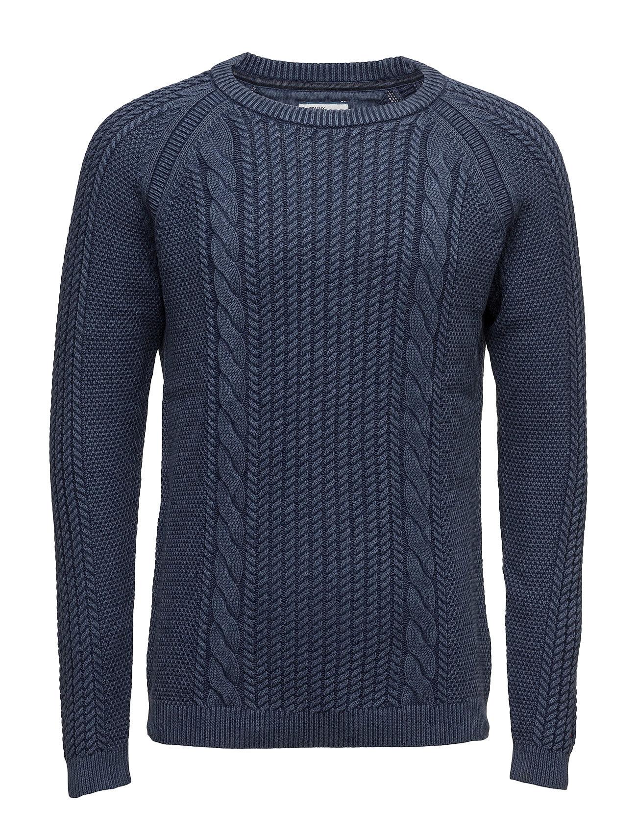 Thdm Cable Cn Sweater L/S 18 Hilfiger Denim Striktøj til Mænd i Blå