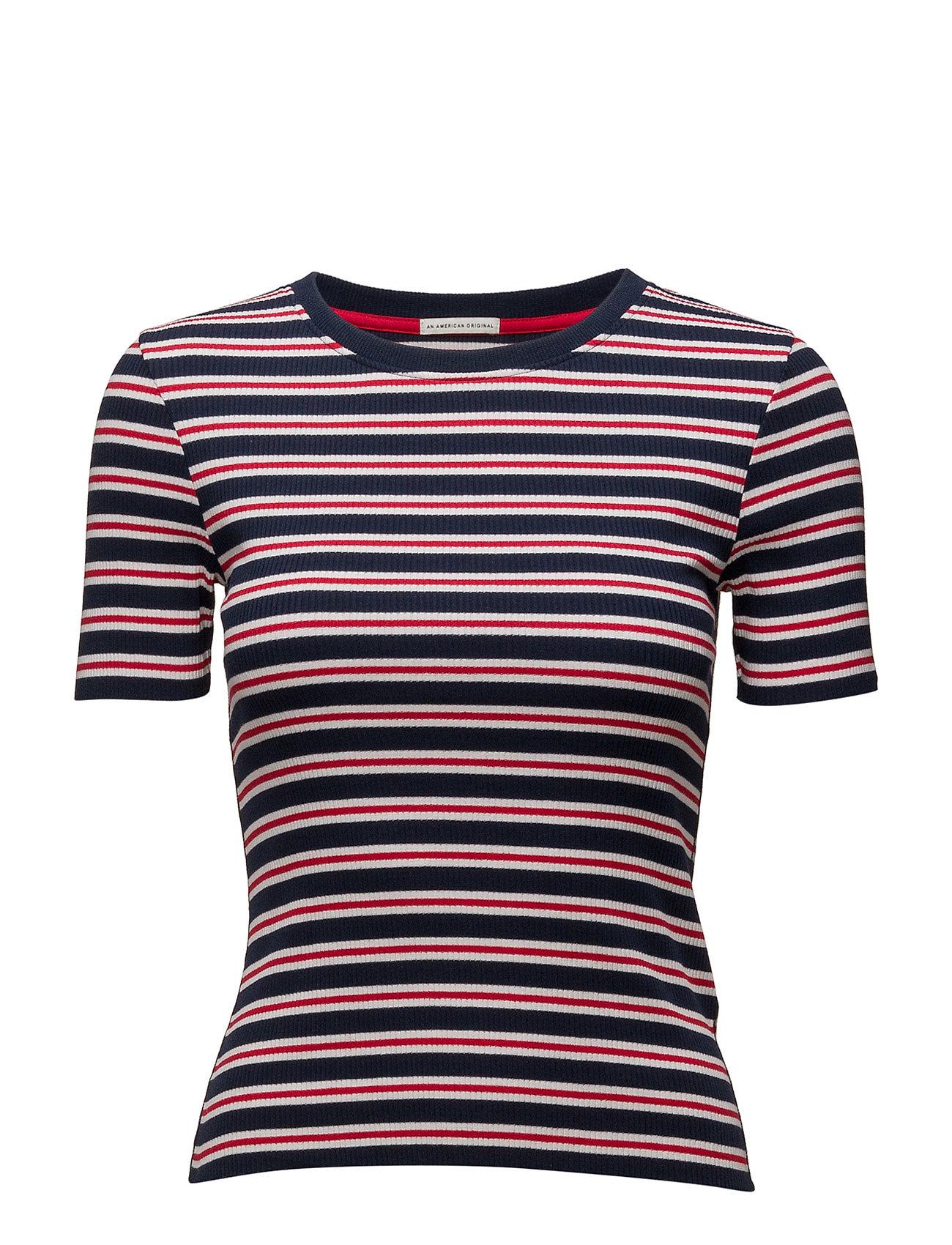 Thdw Stripe Cn Knit S/S 33 Hilfiger Denim Kortærmede til Damer i Blå