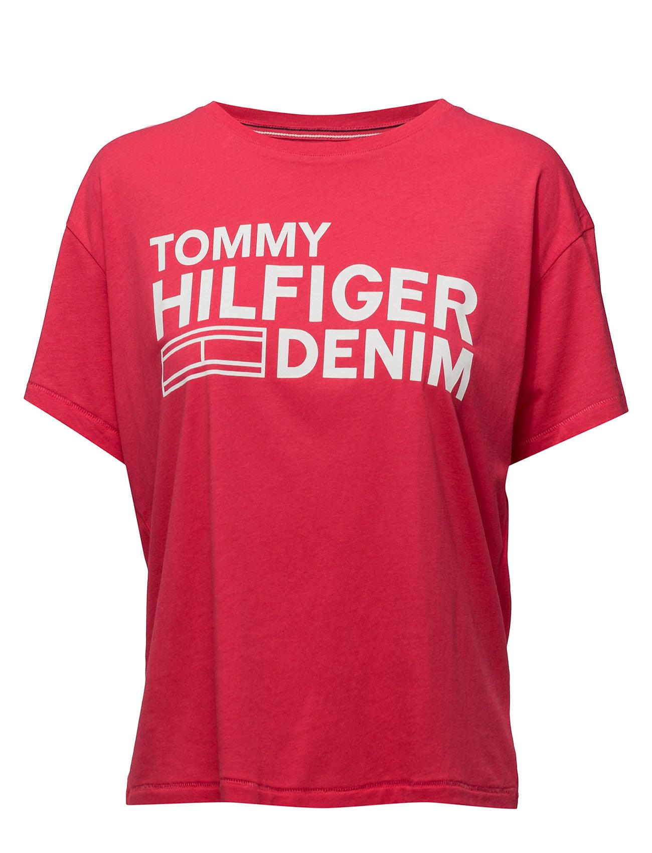 Thdw Basic Cn T-Shirt S/S 25 Hilfiger Denim Kortærmede til Damer i Rød