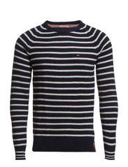 Edward striped cn sweater l/s - BLACK IRIS-PT / MARSHMALLOW-PT