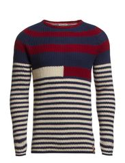 Elmira striped cn sweater l/s - BLACK IRIS-PT/ MULTI