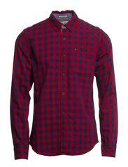 Oric check shirt l/s - RHUBARB-PT