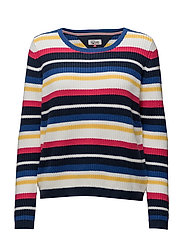 THDW CN STRIPE SWEATER L/S 19 - WHITE