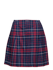 THDW CHECK PLEATED SKIRT 16 - RED