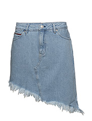 SHORT DENIM SKIRT, 9 - RAW DESTRUCTED LIGHT BLUE RIGI