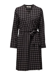 Wrap Dress - DK GREY CHECK
