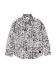 Shirt l/s - all over printed - WHITE