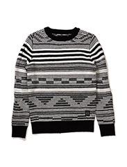 Knit o-neck - BLACK/WHITE MIX