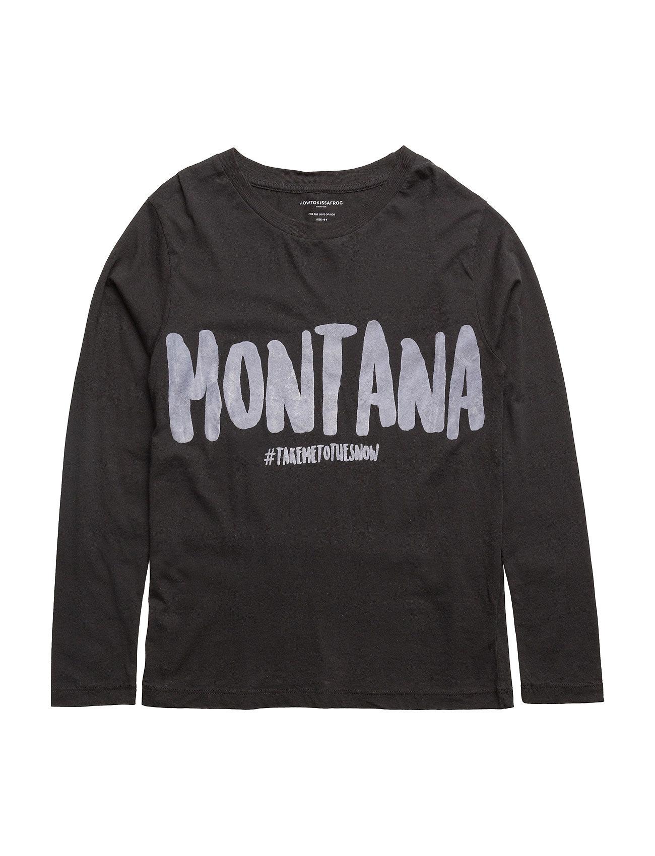 T Long Sleeve Montana How to kiss a frog Langærmede t-shirts til Børn i Sort