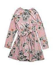 ADELE dress Velvet - PINK BLOOM