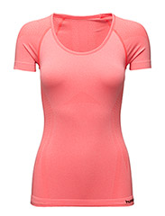 EVE SEAMLESS SS TEE - FIERY CORAL MELANGE