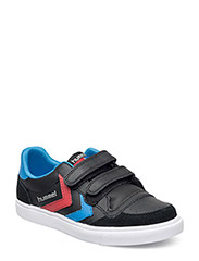 HUMMEL STADIL JR LEATHER LOW - BLACK/BLUE/RED/GUM