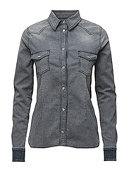 Western Anna Shirt - DENIM/ECRU STRIPE