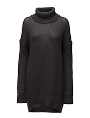 Fluffy Sweater Dress - DARK GREY MELANGE