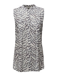 Meya Printed Top - GRANITE GREY