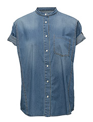 Waving Denim Shirt - LIGHT INDIGO WITH ABRASION