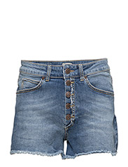 Remy Denim Shorts - MID INDIGO WITH ABRASION