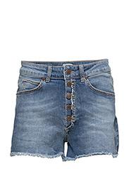 Remy Denim Shorts - MID INDIGO WITH ABRASION