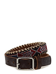 Nashoba Skinny Beaded Belt - RED BONE