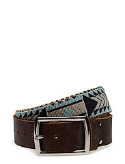 Nashoba Wide Beaded Belt - NAVY BONE
